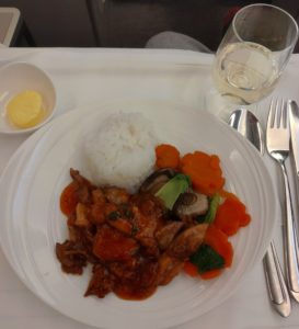 Malaysia Airlines evening meal