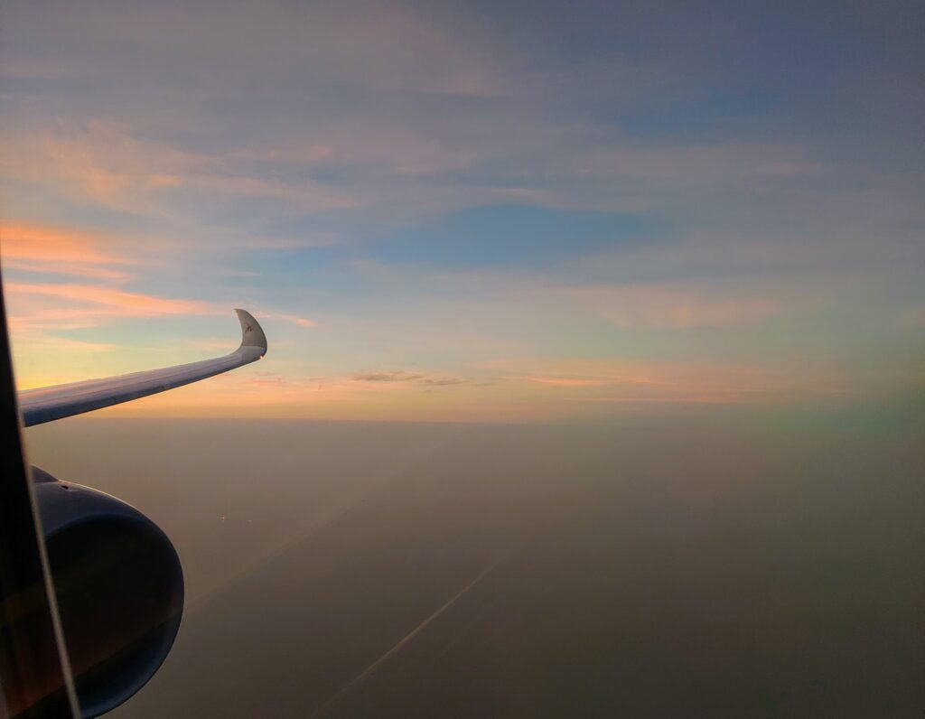 In-flight sunrise